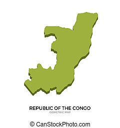 Isometric map of Republic of the Congo detailed vector...