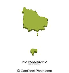 Isometric map of Norfolk Island detailed vector...