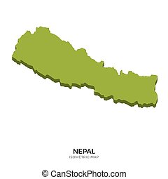Isometric map of Nepal detailed vector illustration....