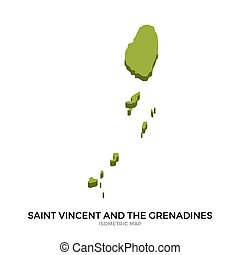 Isometric map of Saint Vincent and the Grenadines detailed...