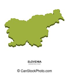 Isometric map of Slovenia detailed vector illustration....