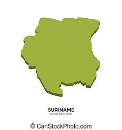 Isometric map of Suriname detailed vector illustration...