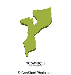Isometric map of Mozambique detailed vector illustration....
