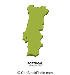 Isometric map of Portugal detailed vector illustration....