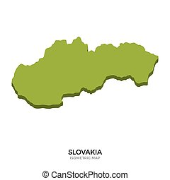 Isometric map of Slovakia detailed vector illustration...