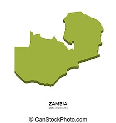 Isometric map of Zambia detailed vector illustration....