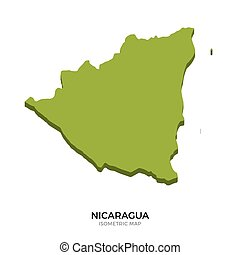 Isometric map of Nicaragua detailed vector illustration....