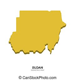 Isometric map of Sudan detailed vector illustration....