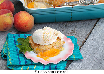 Peach Cobbler - Delicious homemade peach cobbler with...