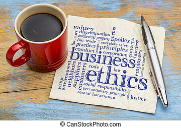 business ethics word cloud - handwriting on a napkin with...