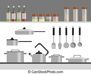 Kitchen Equipment Isolated Elements Flat Illustration...