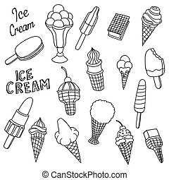 hand drawn cartoon ice cream - Collection of cute vector...