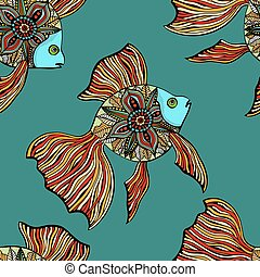 Vector seamless pattern with fishes - Vector seamless...