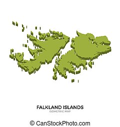 Isometric map of Falkland Islands detailed vector...
