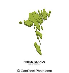 Isometric map of Faroe Islands detailed vector illustration....