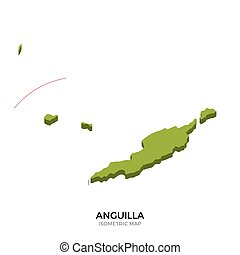 Isometric map of Anguilla detailed vector illustration....