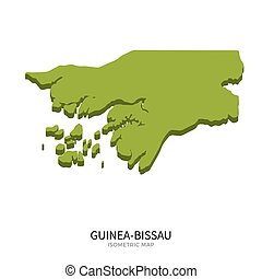 Isometric map of Guinea-Bissau detailed vector illustration...