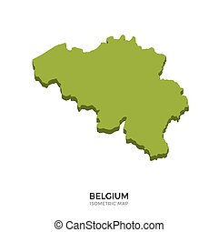 Isometric map of Belgium detailed vector illustration....