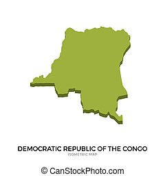Isometric map of Democratic Republic of the Congo detailed...