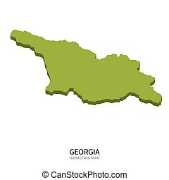 Isometric map of Georgia detailed vector illustration....