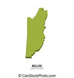 Isometric map of Belize detailed vector illustration....