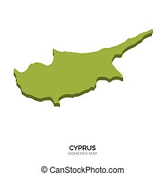 Isometric map of Cyprus detailed vector illustration....