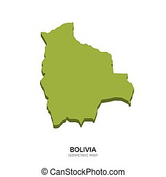 Isometric map of Bolivia detailed vector illustration....