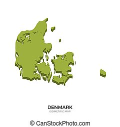 Isometric map of Denmark detailed vector illustration....