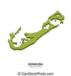 Isometric map of Bermuda detailed vector illustration....