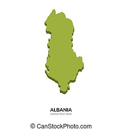Isometric map of Albania detailed vector illustration....