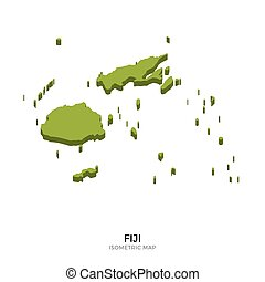 Isometric map of Fiji detailed vector illustration. Isolated...