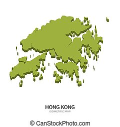 Isometric map of Hong Kong detailed vector illustration....