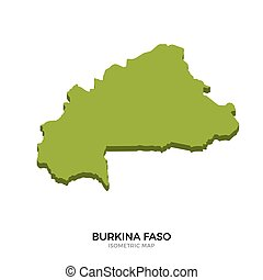 Isometric map of Burkina Faso detailed vector illustration....