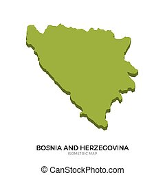 Isometric map of Bosnia and Herzegovina detailed vector...