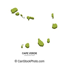 Isometric map of Cape Verde detailed vector illustration....