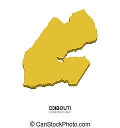 Isometric map of Djibouti detailed vector illustration...