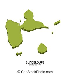 Isometric map of Guadeloupe detailed vector illustration....