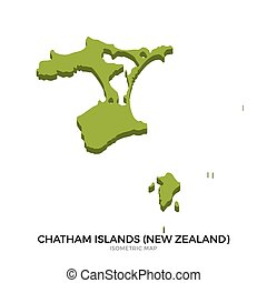 Isometric map of Chatham Islands detailed vector...