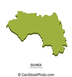 Isometric map of Guinea detailed vector illustration....