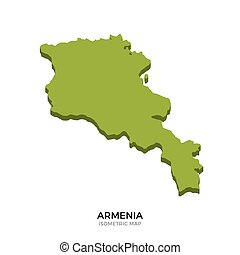 Isometric map of Armenia detailed vector illustration....