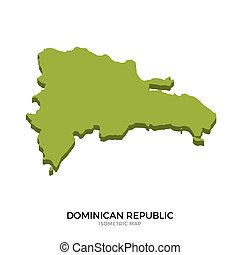 Isometric map of Dominican Republic detailed vector...
