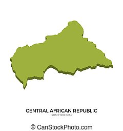 Isometric map of Central African Republic detailed vector...