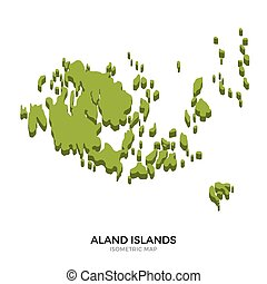 Isometric map of Aland Islands detailed vector illustration....