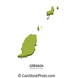 Isometric map of Grenada detailed vector illustration...