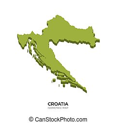 Isometric map of Croatia detailed vector illustration....