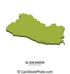 Isometric map of El Salvador detailed vector illustration....