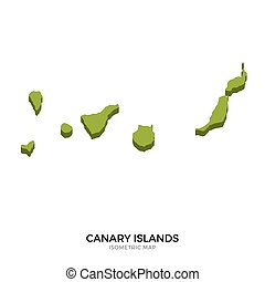 Isometric map of Canary Islands detailed vector illustration...