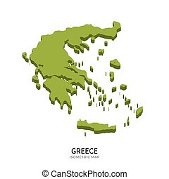 Isometric map of Greece detailed vector illustration....