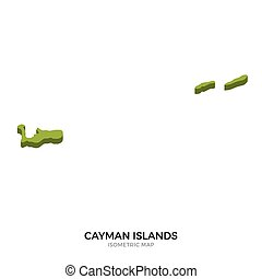 Isometric map of Cayman Islands detailed vector illustration...