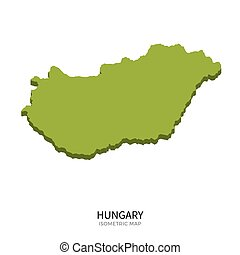 Isometric map of Hungary detailed vector illustration....